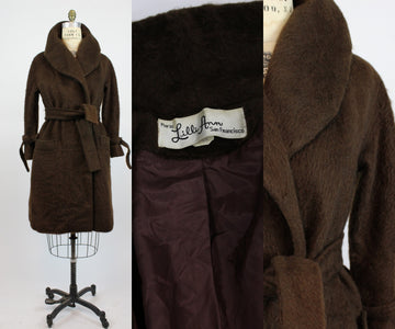 1960s Lilli Ann chocolate mohair wrap coat medium large | new in