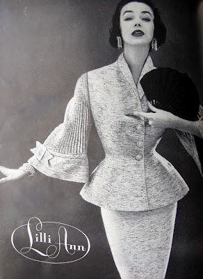 1950's Lilli Ann documented accordian pleated sleeve suit xs