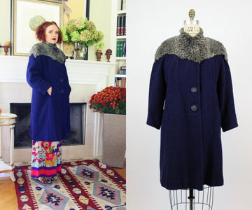 1940's navy boucle fur cape coat | vintage swing coat | new in