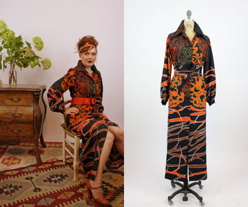 1970s LANVIN bold print dress medium | vintage maxi dress