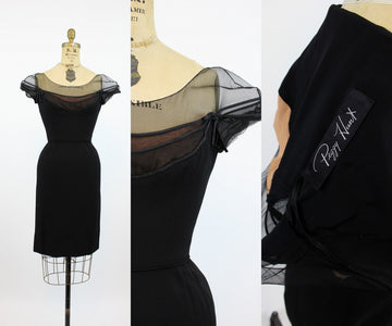 1960s Peggy Hunt illusion neckline dress xs