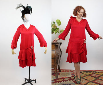 1920s red silk dress xs | vintage ruffled flapper dress | new in
