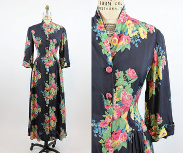 1940s cold rayon rose print dressing gown small | vintage 40s floral dress | new in