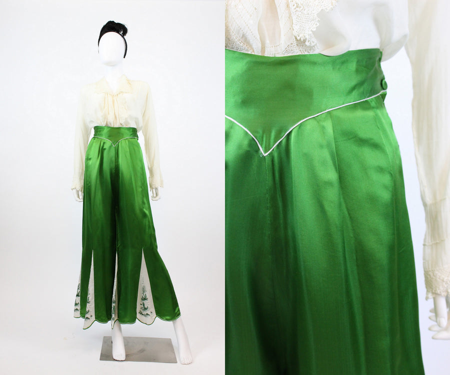 RESERVED 1930s emerald silk chinoiserie pajama pants medium | new in