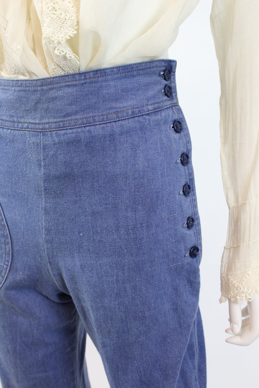 vintage 1970s does 1940s side button jeans xs | vintage wide legs pants