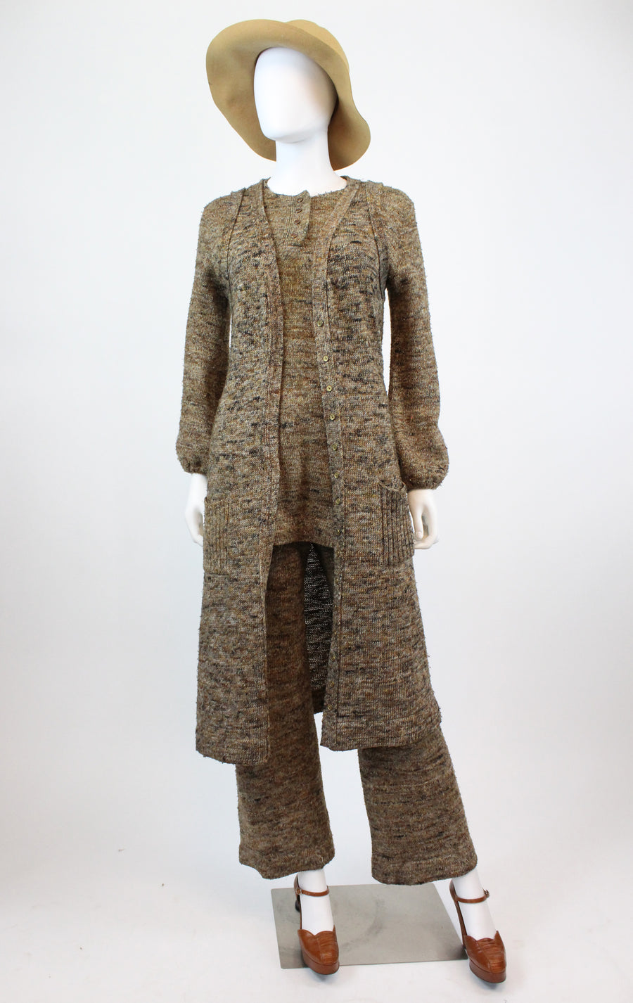 1970s knit three piece small medium | vintage pants vest tunic