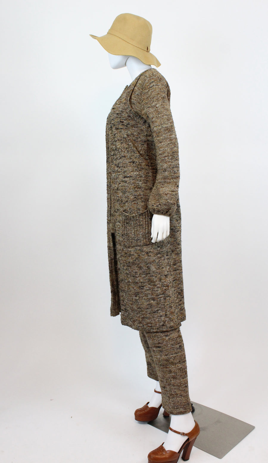 1970s knit three piece small medium | vintage pants vest tunic | new in