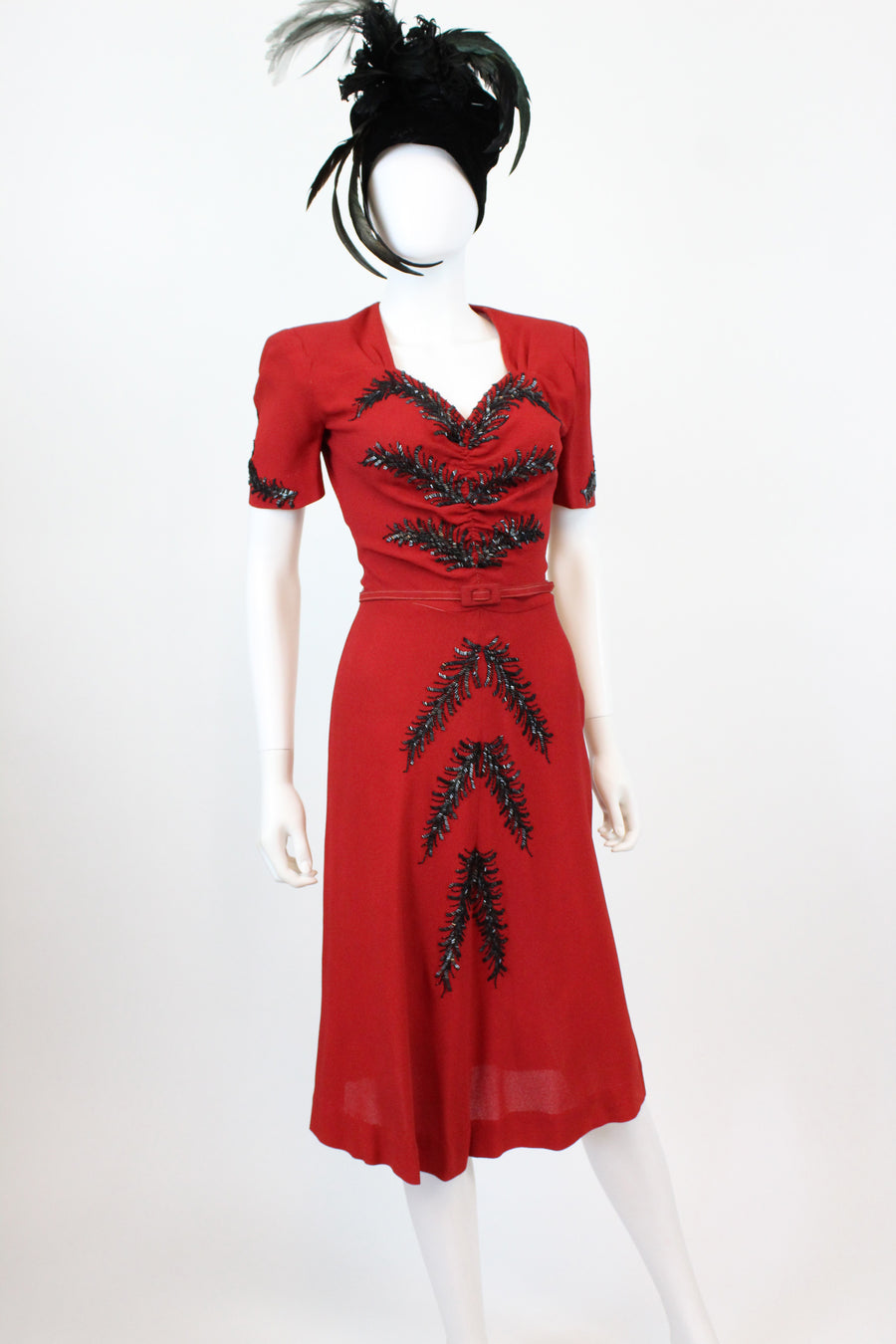 1940s red feather beaded dress xs | vintage rayon cocktail dress | new fall