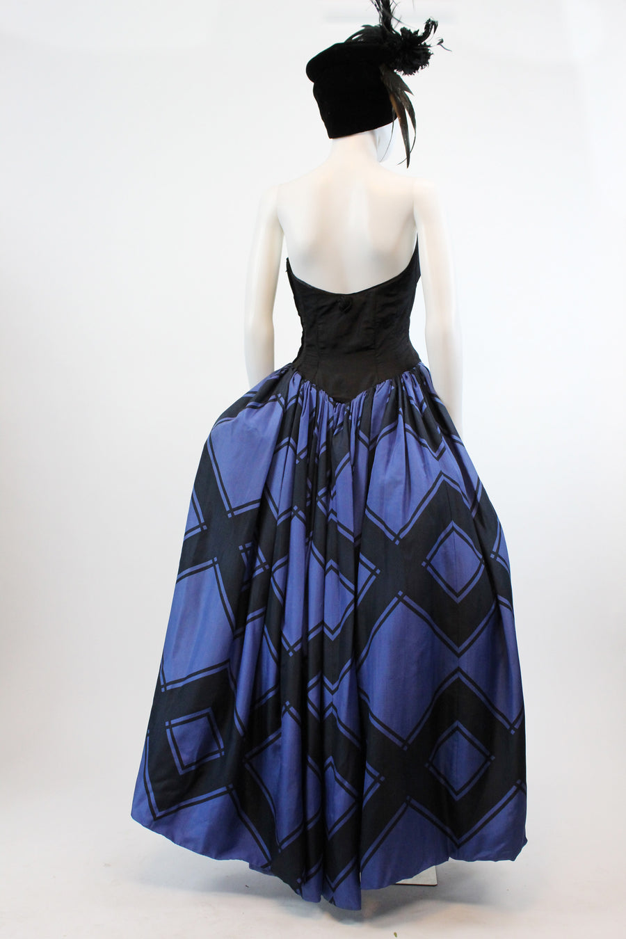 1950s Estevez strapless ball gown xs | vintage silk dress designer | new in