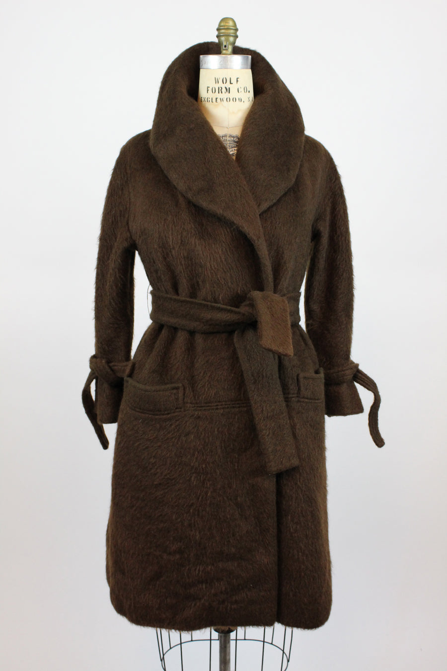 1960s Lilli Ann chocolate mohair wrap coat medium large | new fall