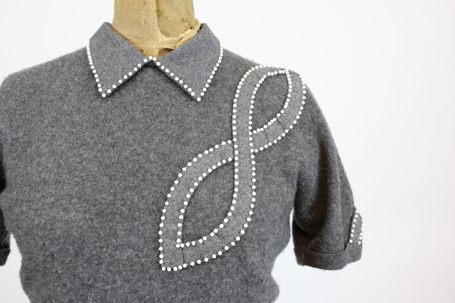 1950's cashmere beaded sweater | vintage hollywood designer top | new in