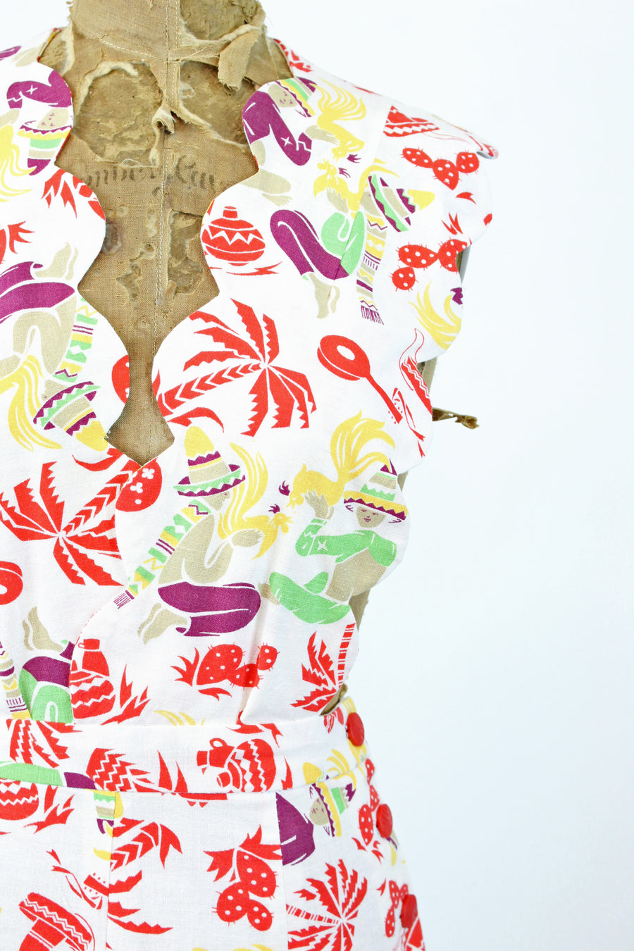 1940s handmade pinafore dress novelty print xs | cactus guitar print | new in