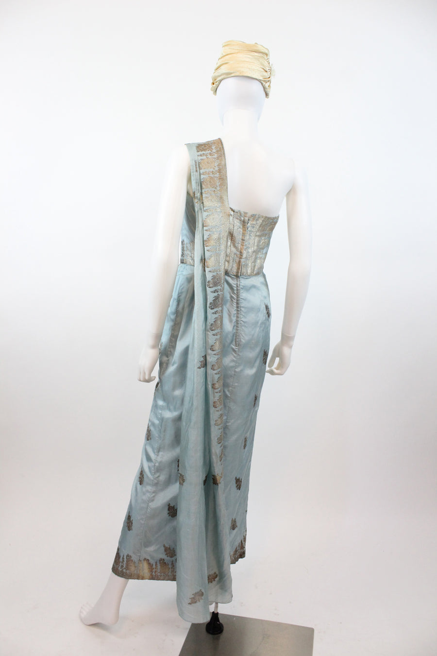 1950s Indian silk sari dress small | vintage one shoulder gown