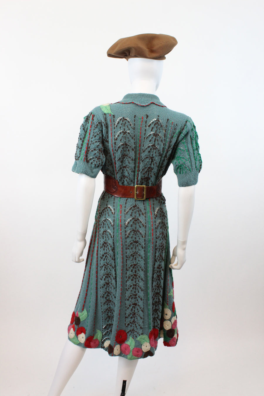 1930s crewel work knit dress medium large | vintage puffed sleeves | new fall