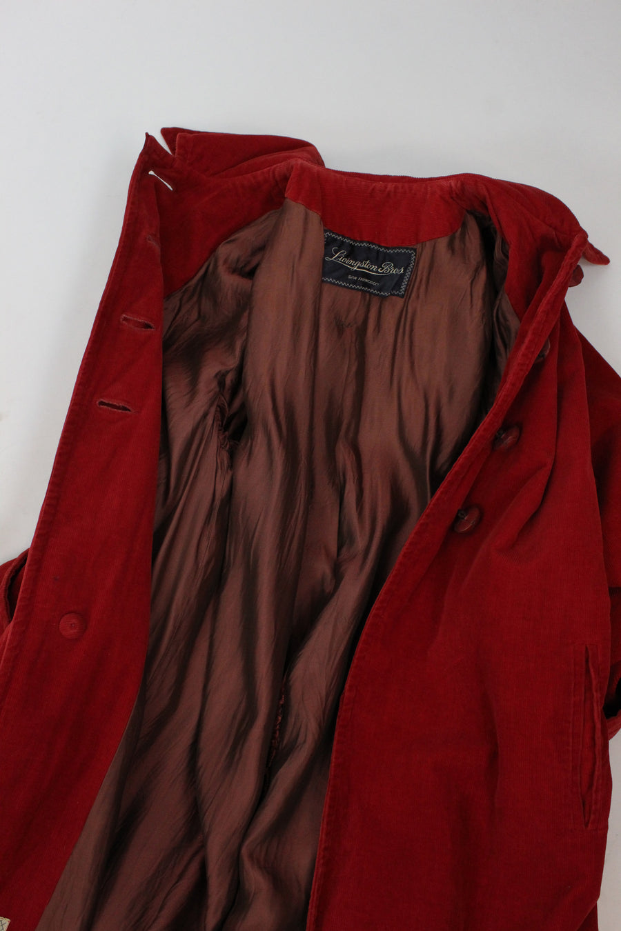 1940s red corduroy coat medium large | vintage jacket