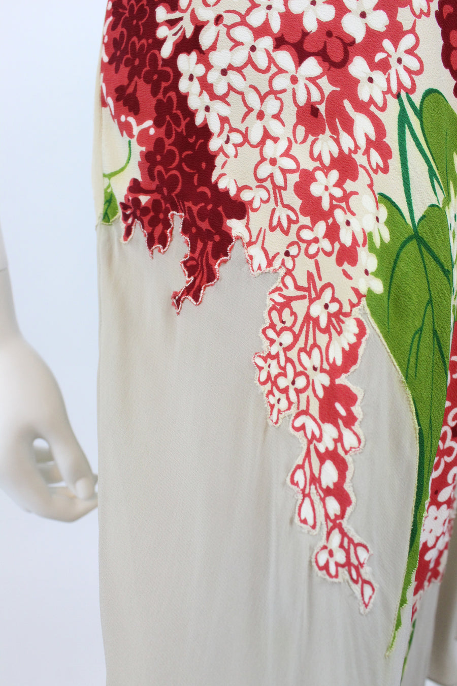 1940's rayon red lilac print dress | vintage silk dress | new in