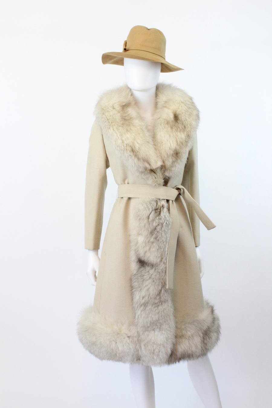 1960s fox fur coat xs small | vintage wool belted jacket | new fall