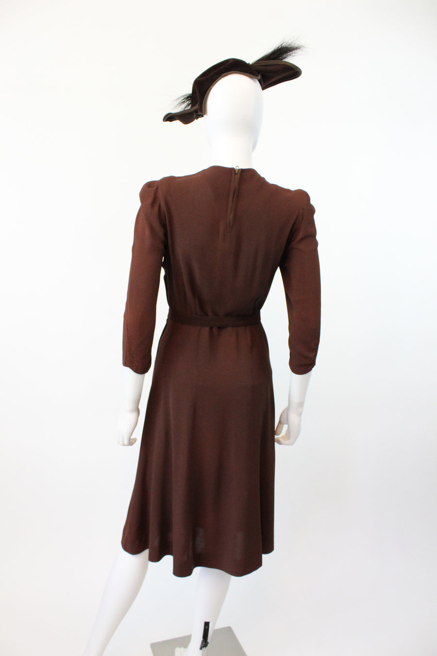 1930s 1940s two tone rayon dress small | vintage soutache dress | new fall