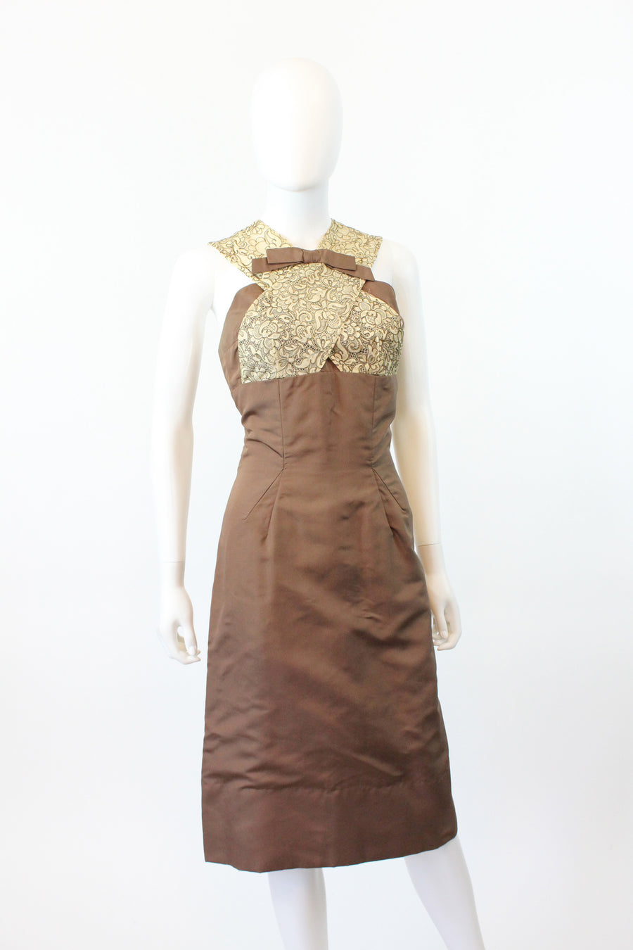 1950s Oleg Cassini wiggle dress small | lace and silk open shoulder dress | new in