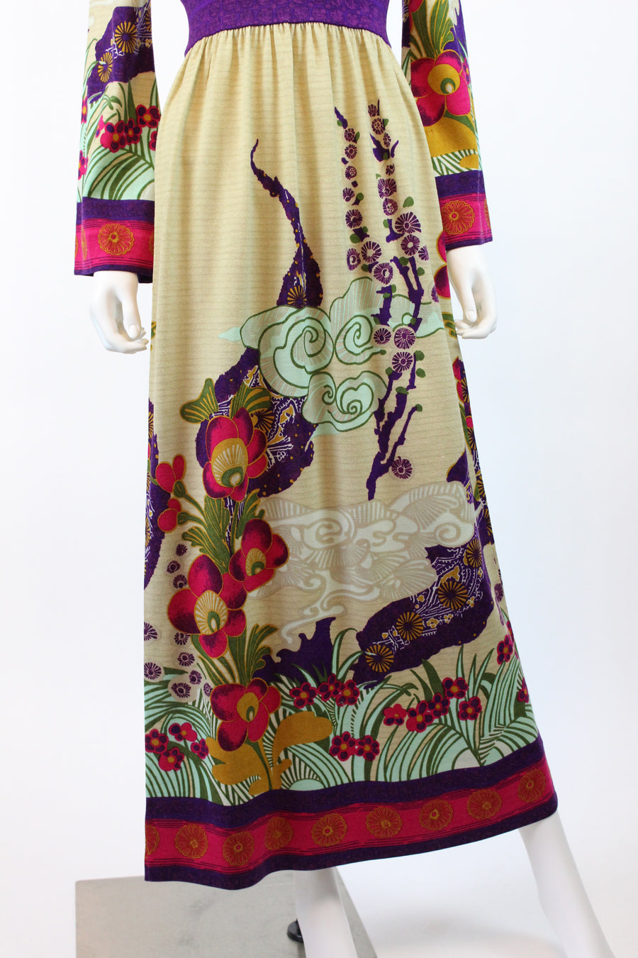 1970s Goldworm wool knit asian inspired dress small medium