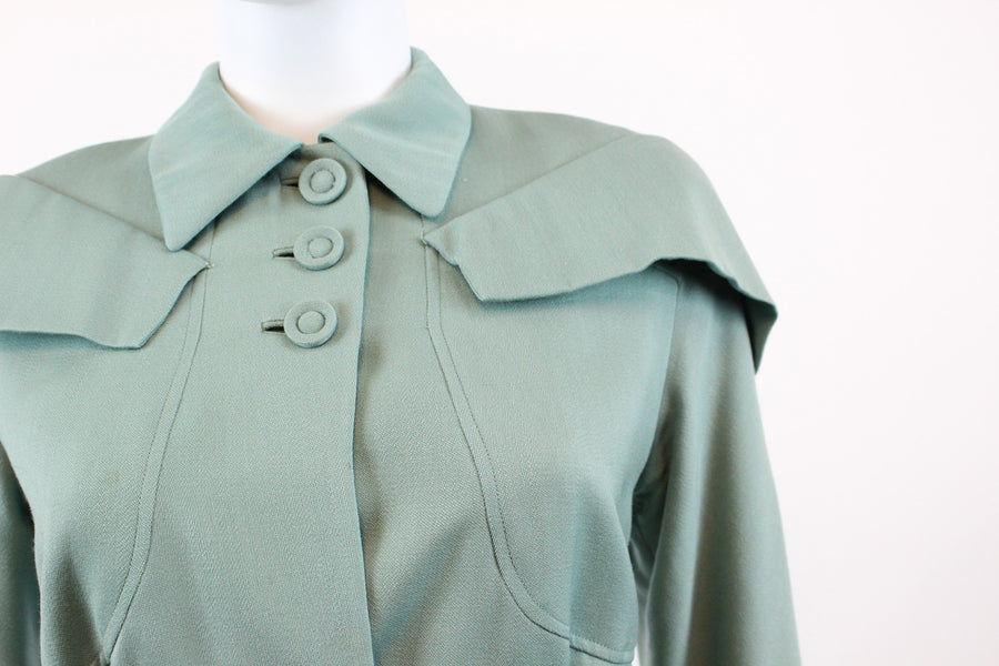 1940s aqua wool suit cape shoulders medium | vintage belted two piece