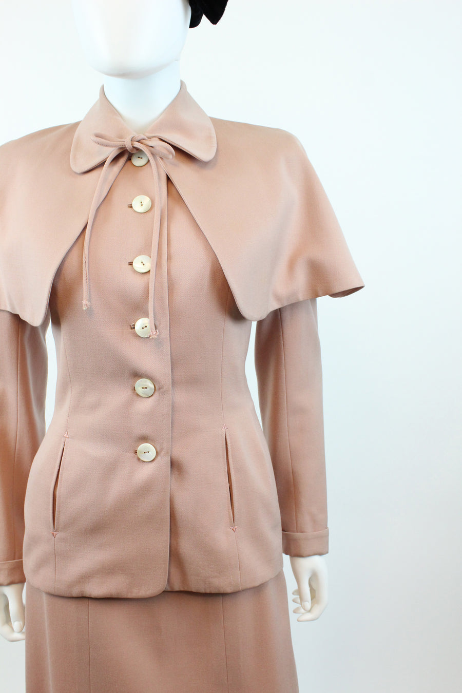 1940s blush pink suit with CAPE xs | vintage three piece WWII suit