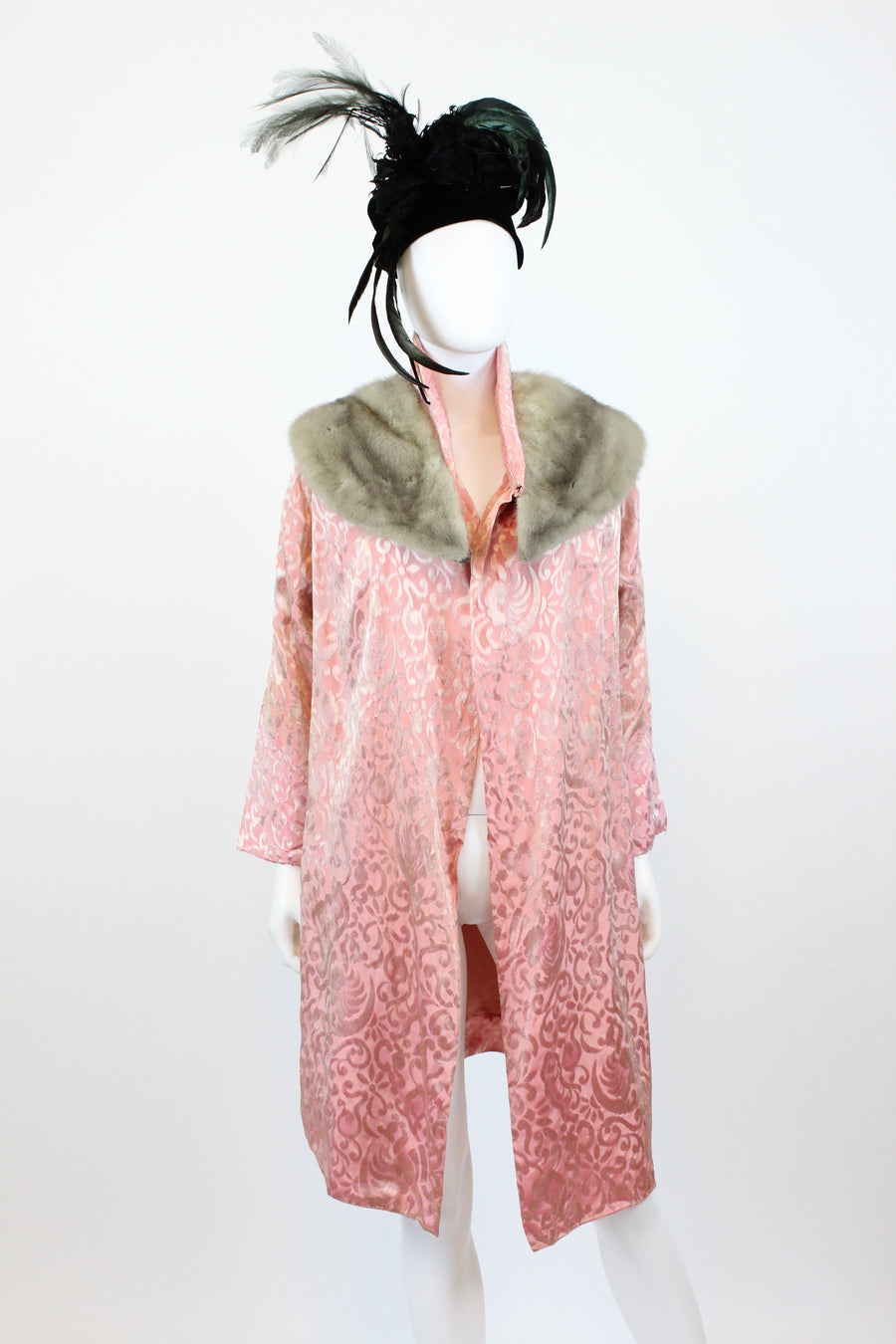 1920s silk and fur kimono jacket | vintage fur collar robe coat | new fall