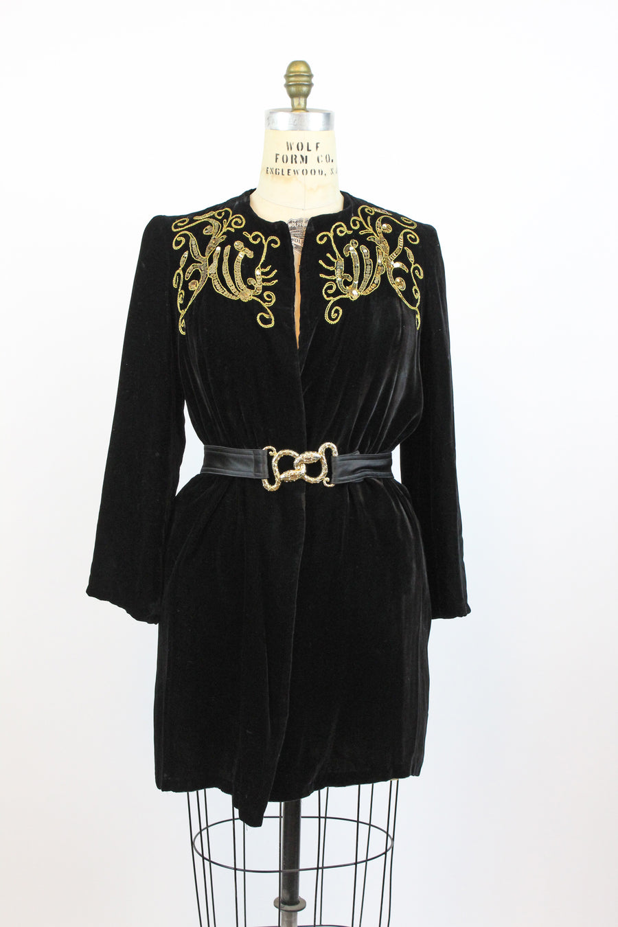 1940s velvet sequin and soutache jacket | vintage coat