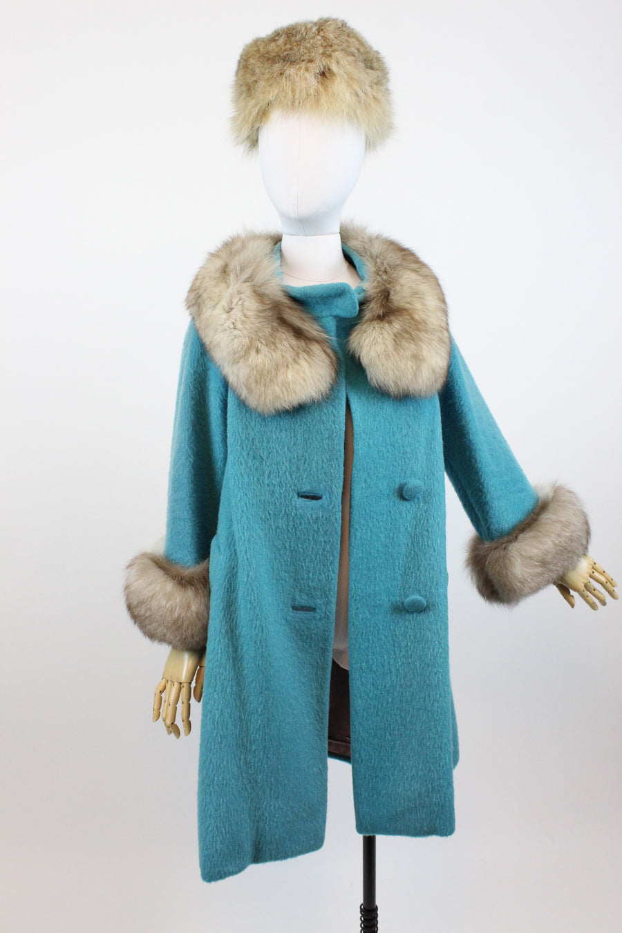 1960s turquoise Lilli Ann fur coat small medium | vintage wool coat | new fall