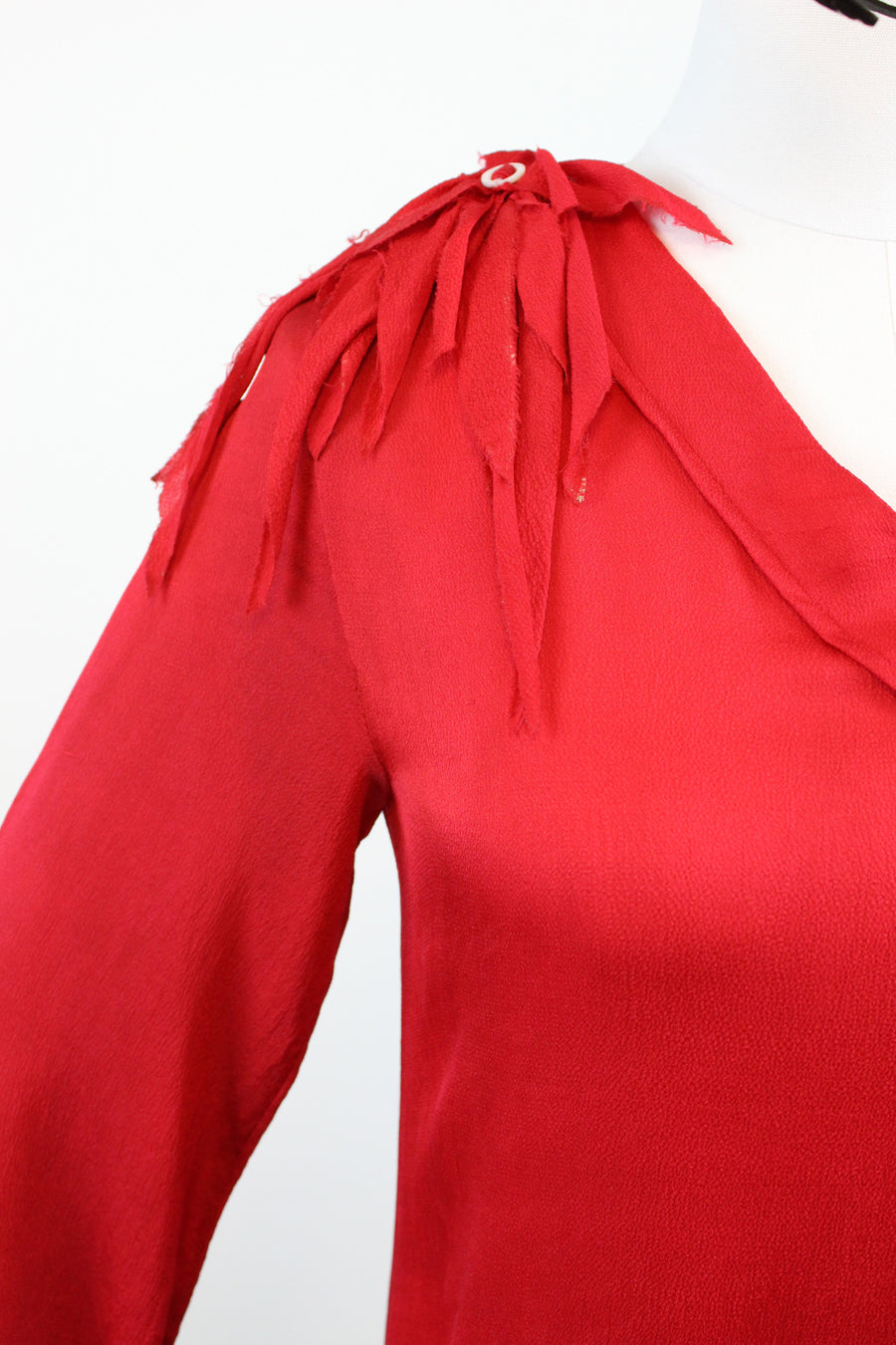 1920s red silk dress xs | vintage ruffled flapper dress | new fall
