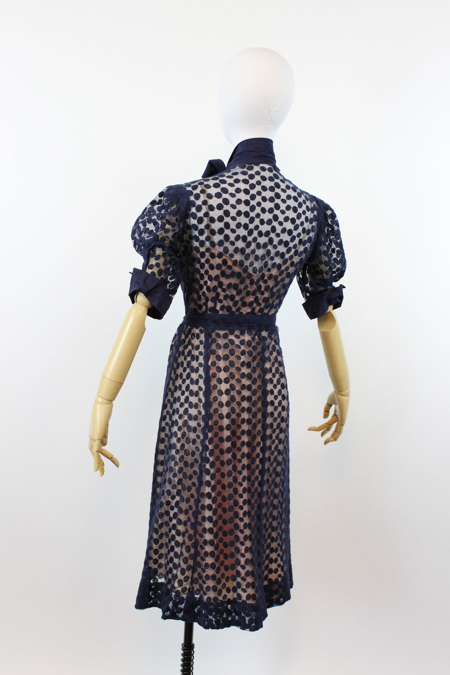 1930s mesh button front sheer dress small medium | new in | JMC