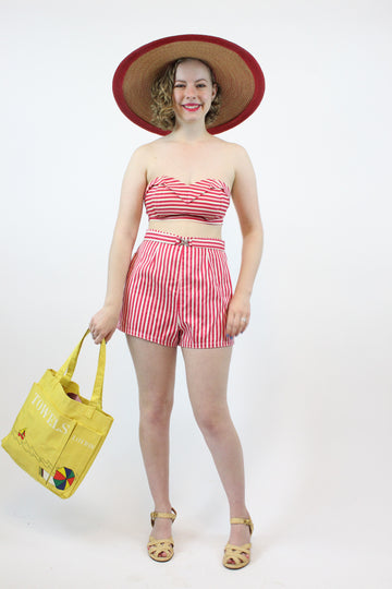 1940s bikini Koret of California medium | candy stripe two piece swim suit