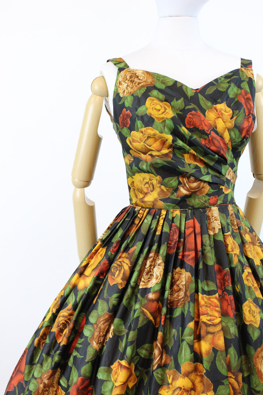 1950s alix of miami rose print dress xs | vintage floral sun dress | new in