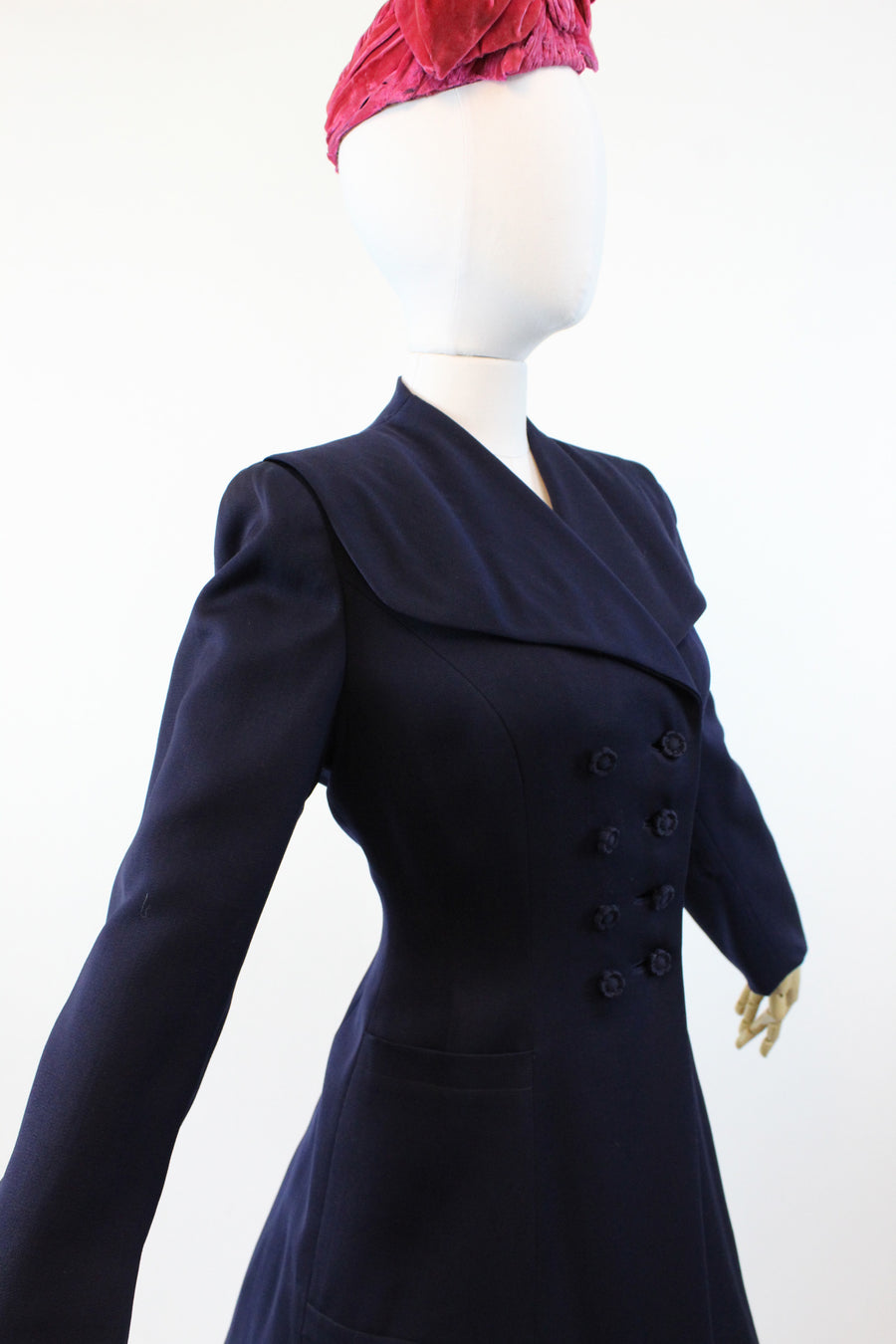 1940s I Magnin gabardine princess coat small | navy double breasted coat | new fall