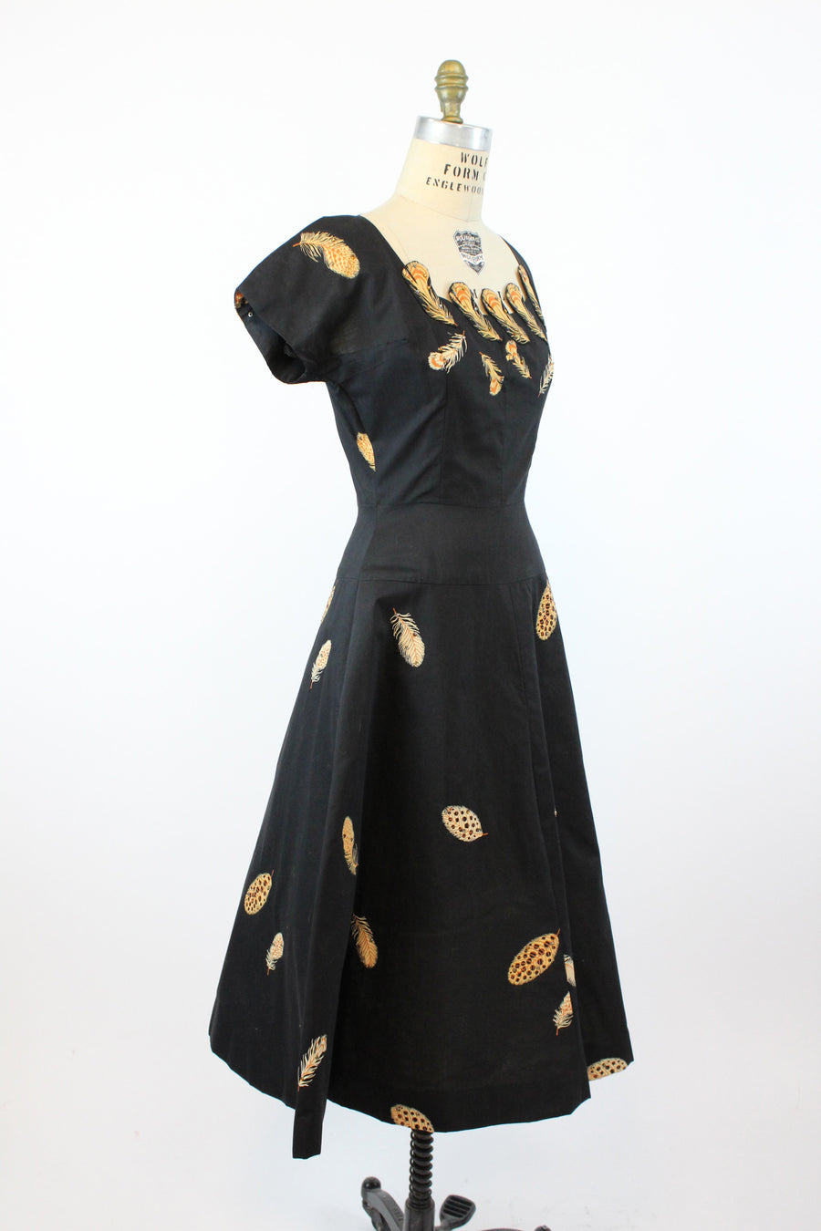 1950s feather print dress with rhinestones small | vintage cotton dress | new in