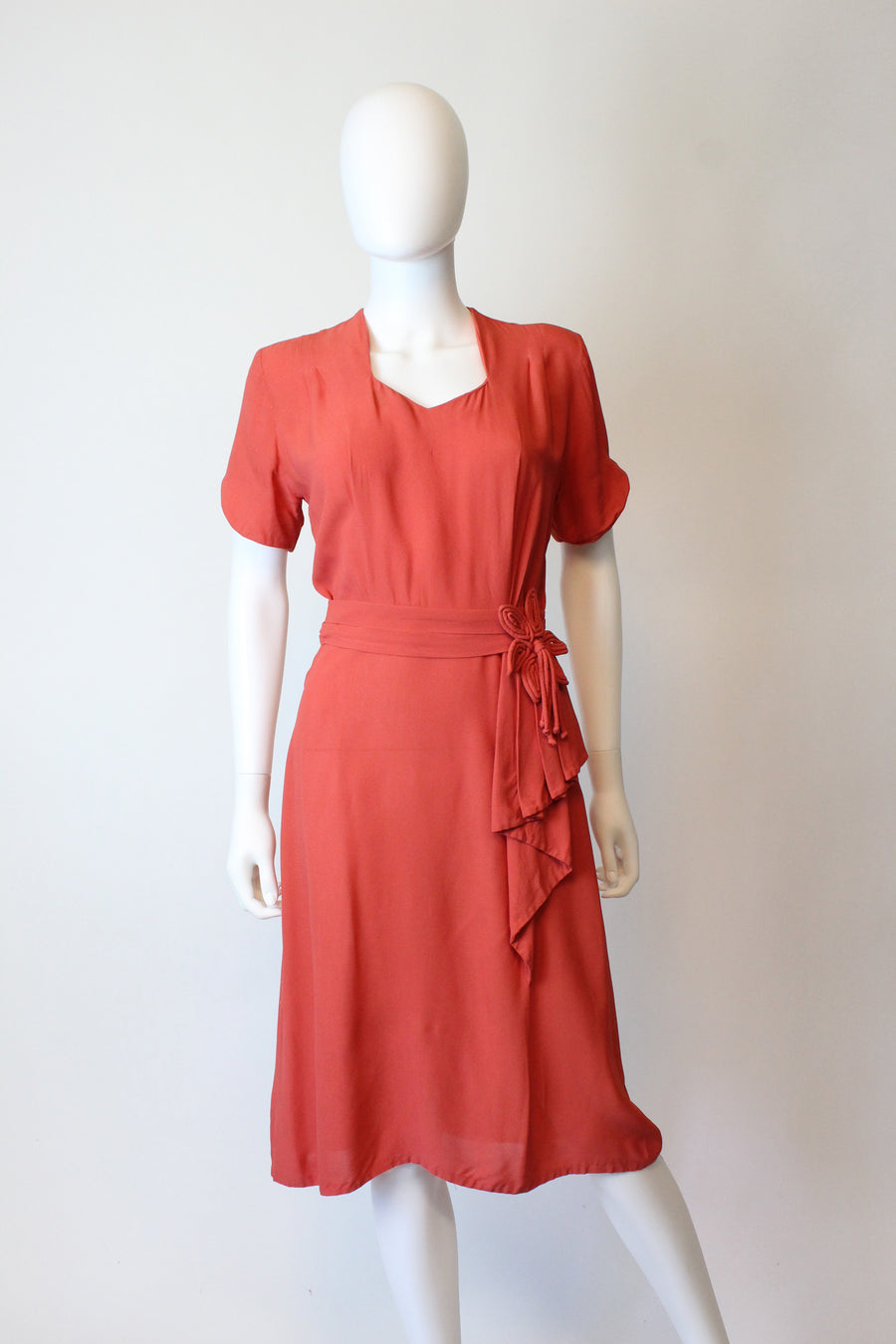 1940s coral rayon dress small | vintage tassel dress | new in