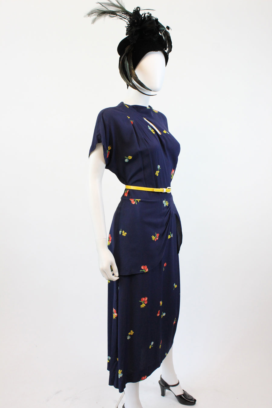 1940s novelty print cherry dress small | vintage slashed neckline dress | new in
