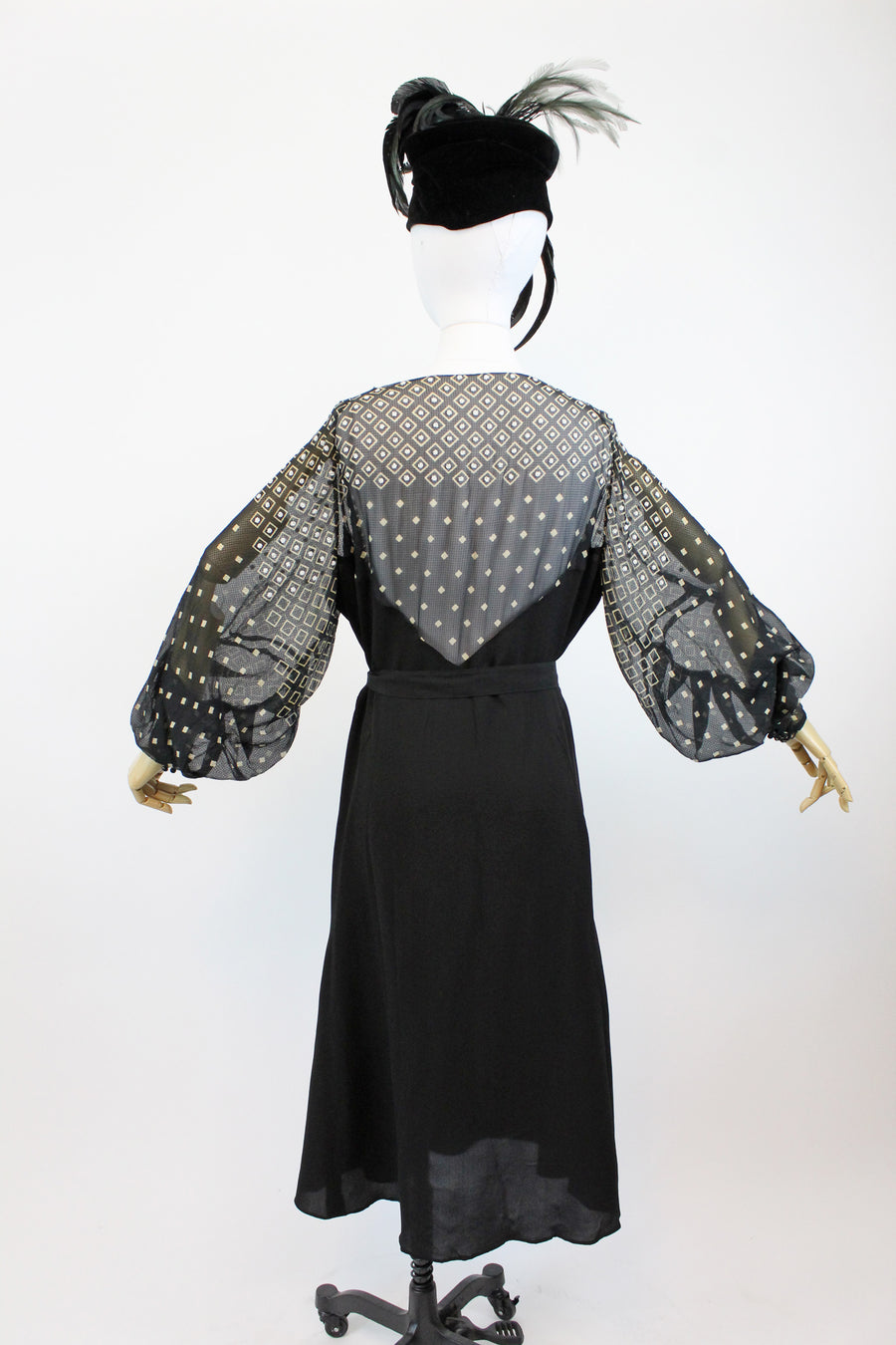 1930s beaded dress volup xl | vintage rayon silk lantern sleeve dress | new in