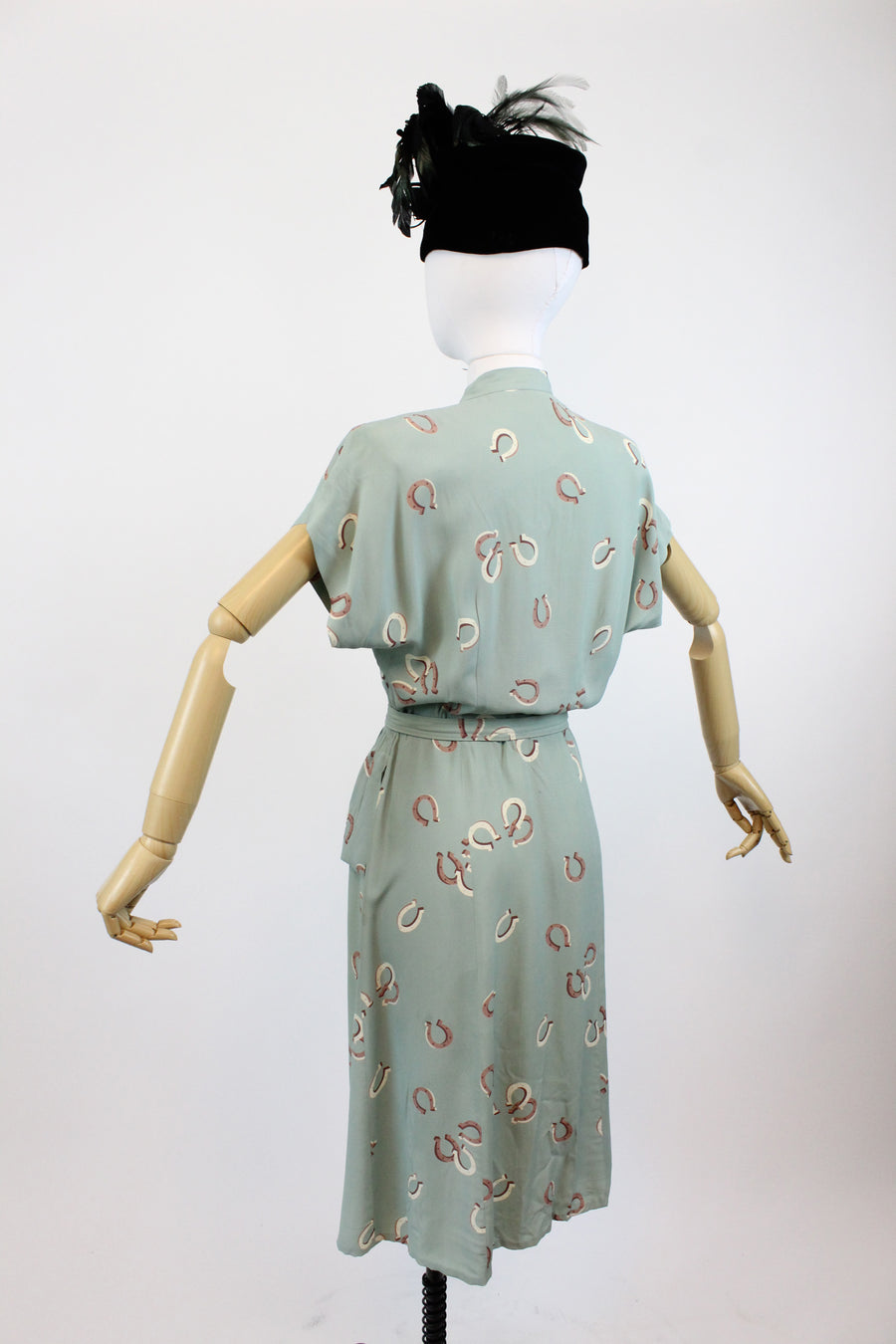 1940s novelty print horseshoe dress small | vintage cold rayon dress
