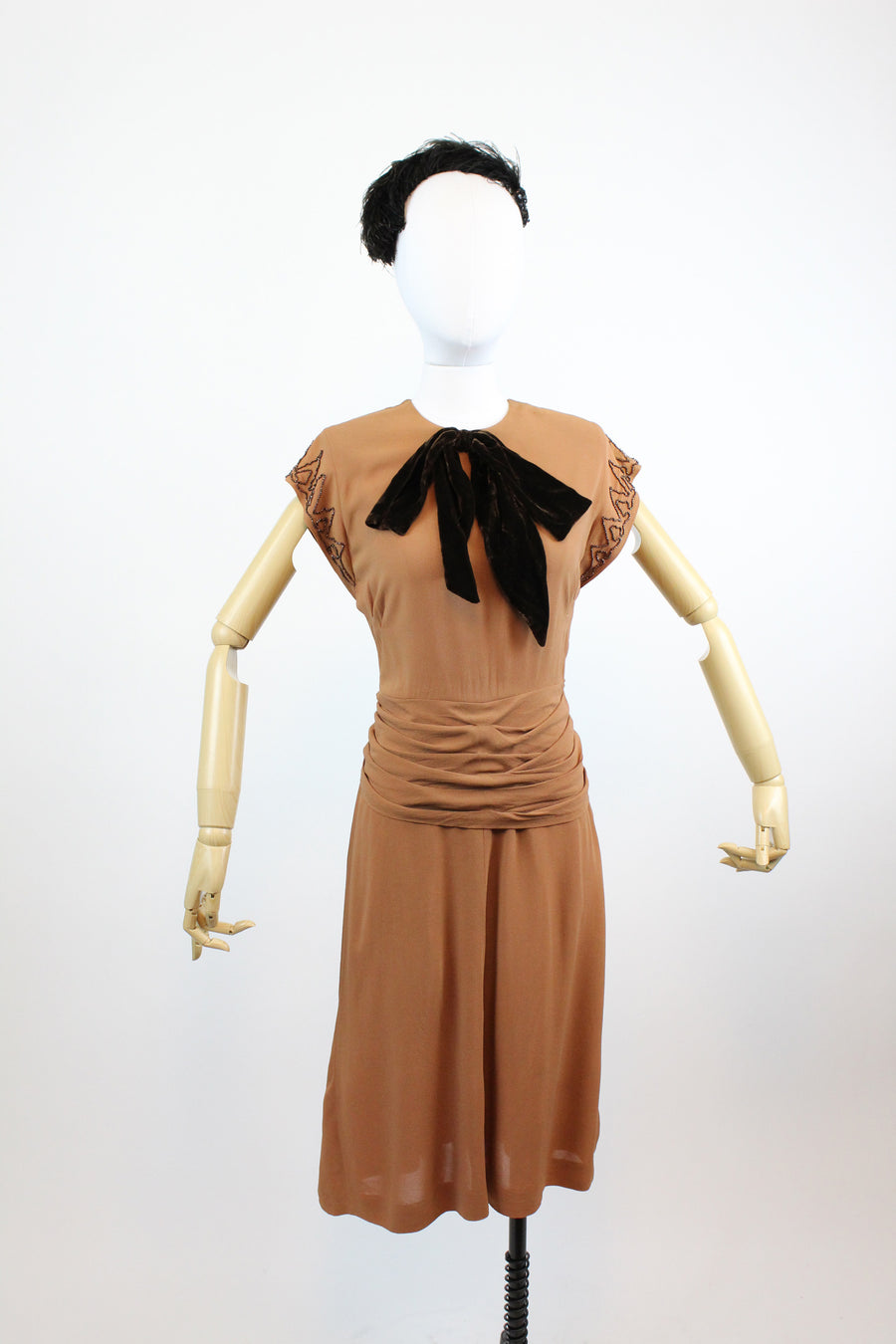 1940's rayon beaded dress xs | vintage butterscotch dress | new in