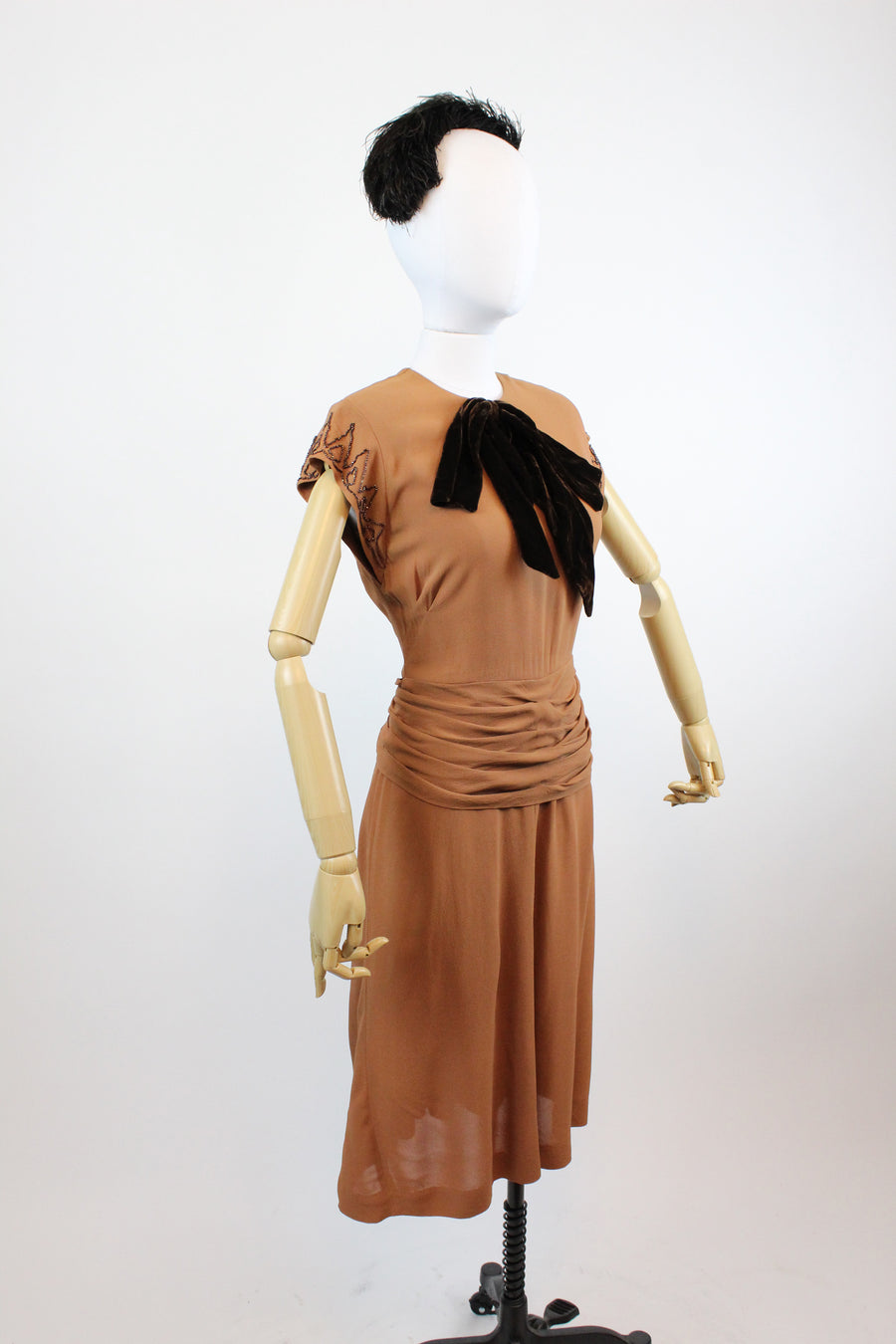 1940's rayon beaded dress xs | vintage butterscotch dress | new fall