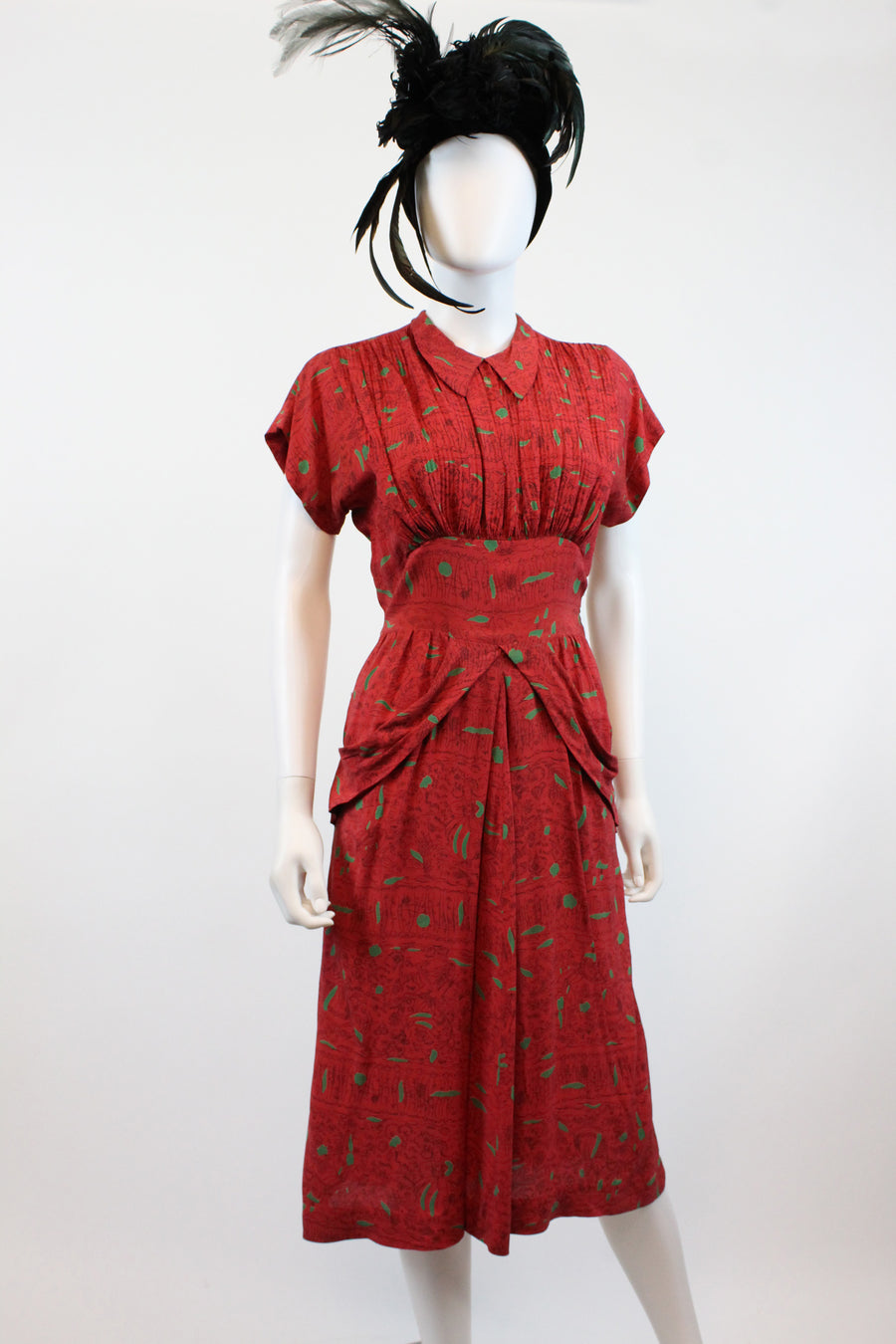 1940s rayon novelty print dress small | vintage dutch people | new in