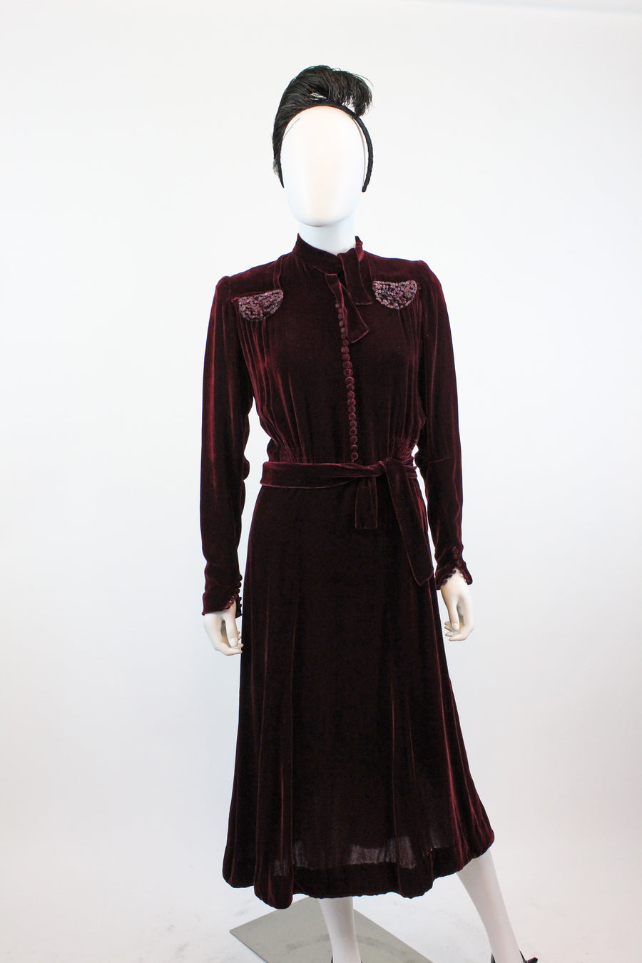 1930s silk velvet dress medium large | vintage 1940s dress | new