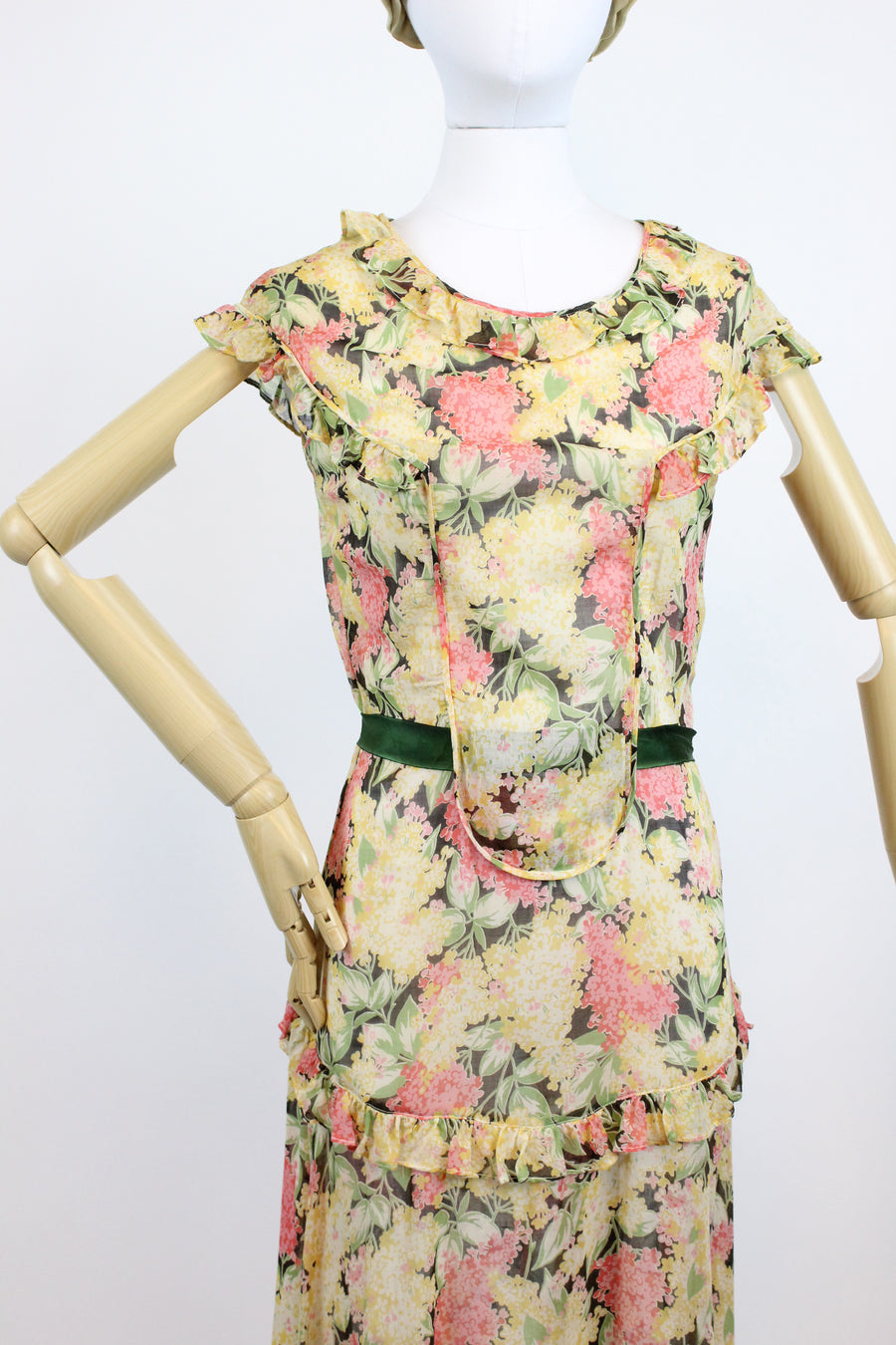 1930s dark floral dress xs small | vintage cotton floral gown | new in