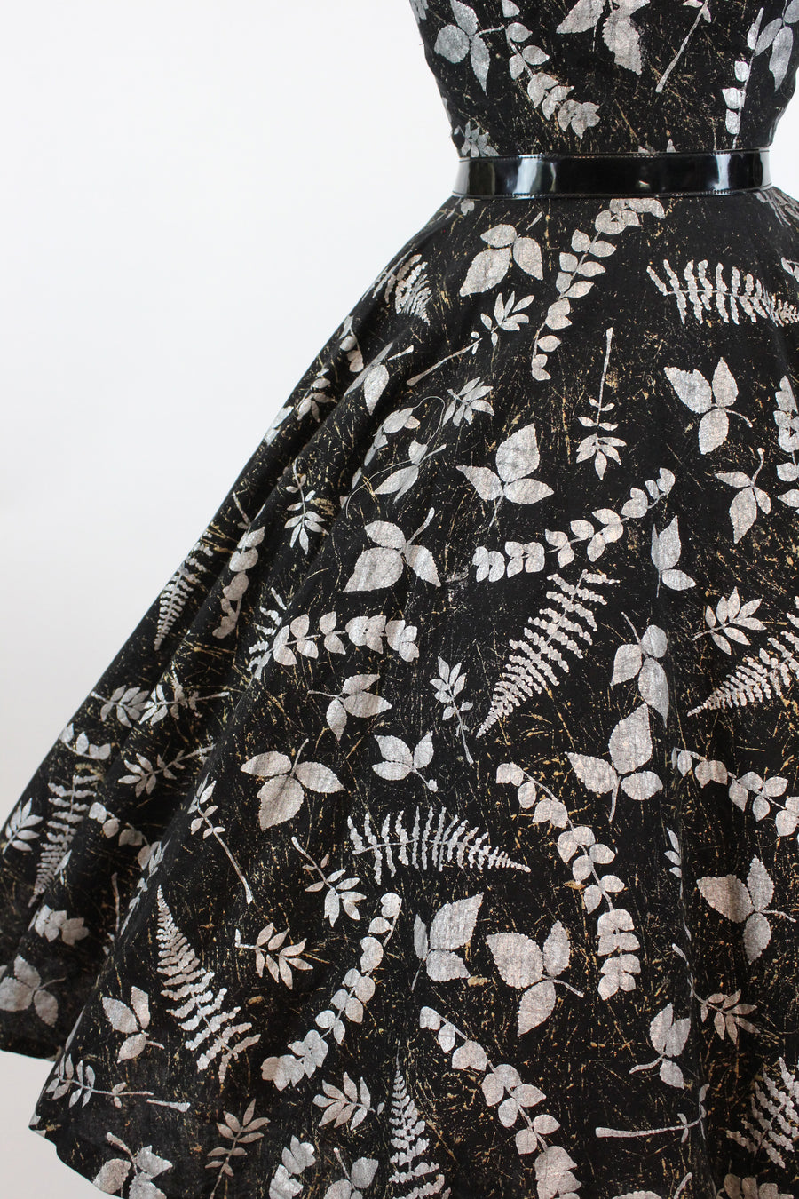 1950s fern leaf print dress small | vintage silver metallic fit and flare | new fall