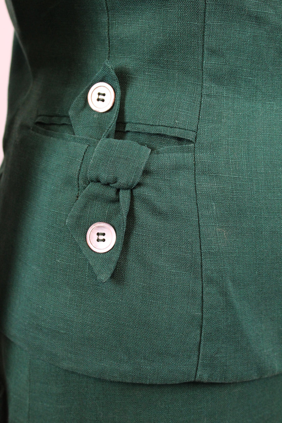 1940's green linen suit medium | vintage Nat Gaynes jacket and skirt | new in