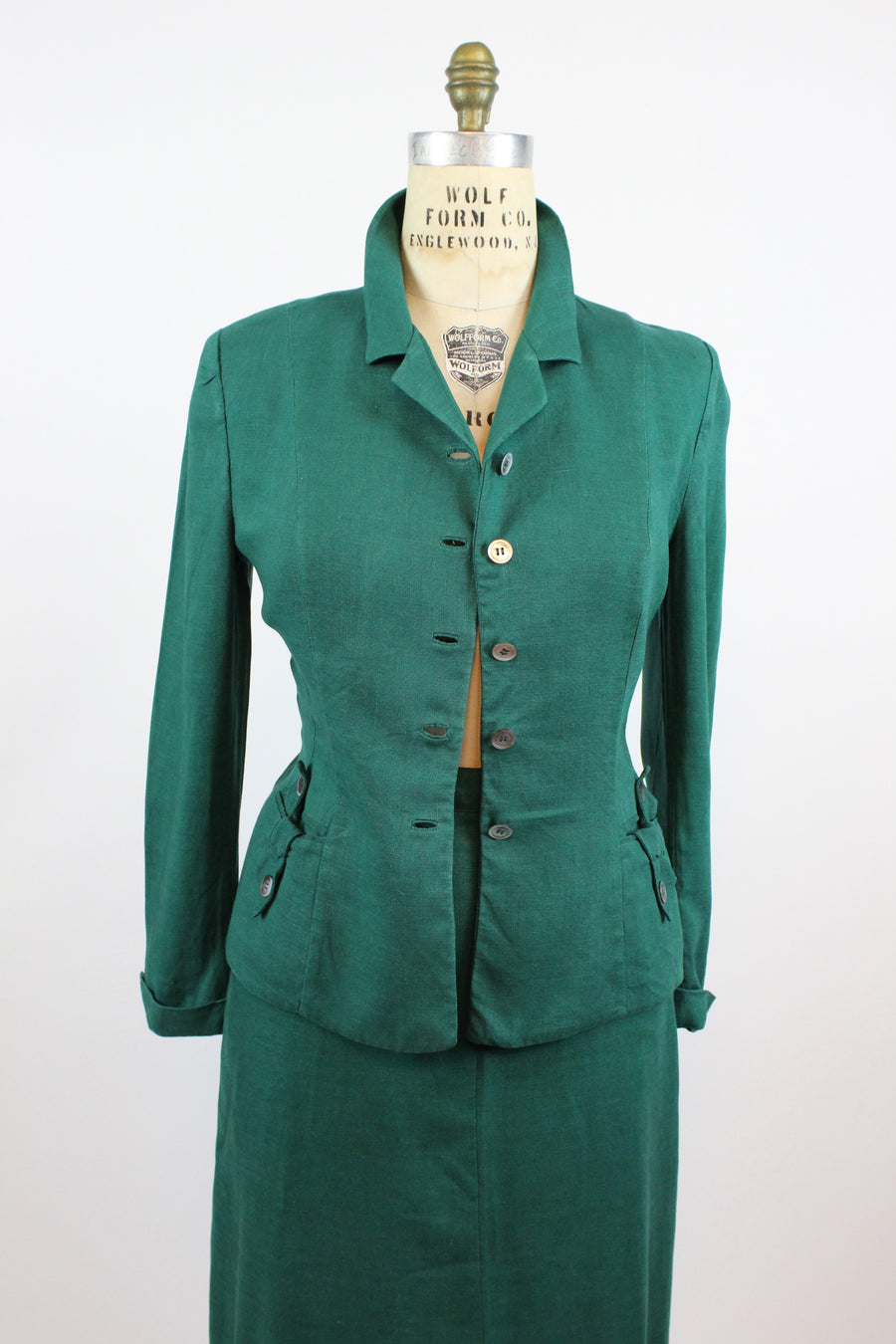 1940's green linen suit medium | vintage Nat Gaynes jacket and skirt | new fall