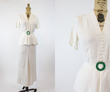 RESERVED 1940s ivory rayon wedding dress xs | vintage two piece | new in