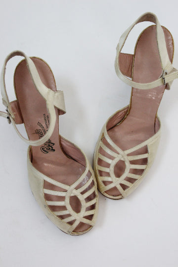1940s satin wedding shoes size 7 us | vintage cage pumps | new in