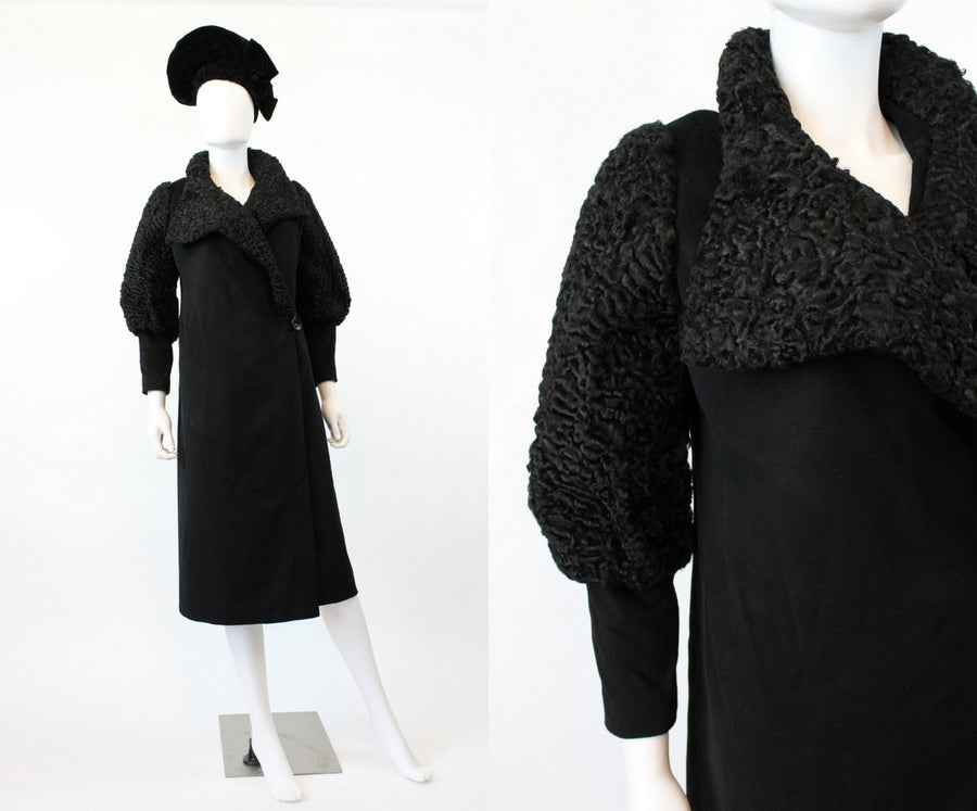 1920s 1930s wool and fur coat xs/small | vintage leg o mutton sleeves new in
